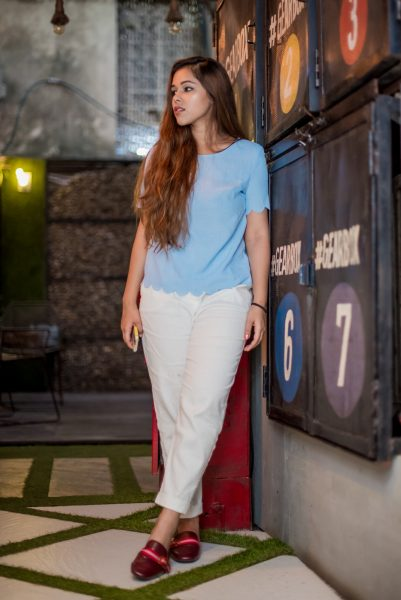romwe blue shirt 5
