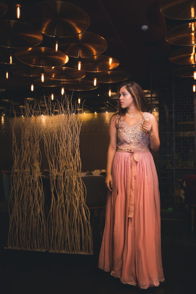 party outfit, pink gown, ritu kumar