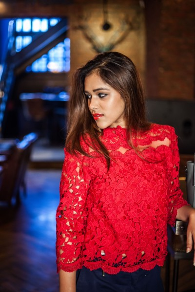 Red lace Top, apichaya clothing