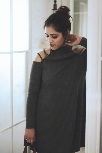 shein grey dress